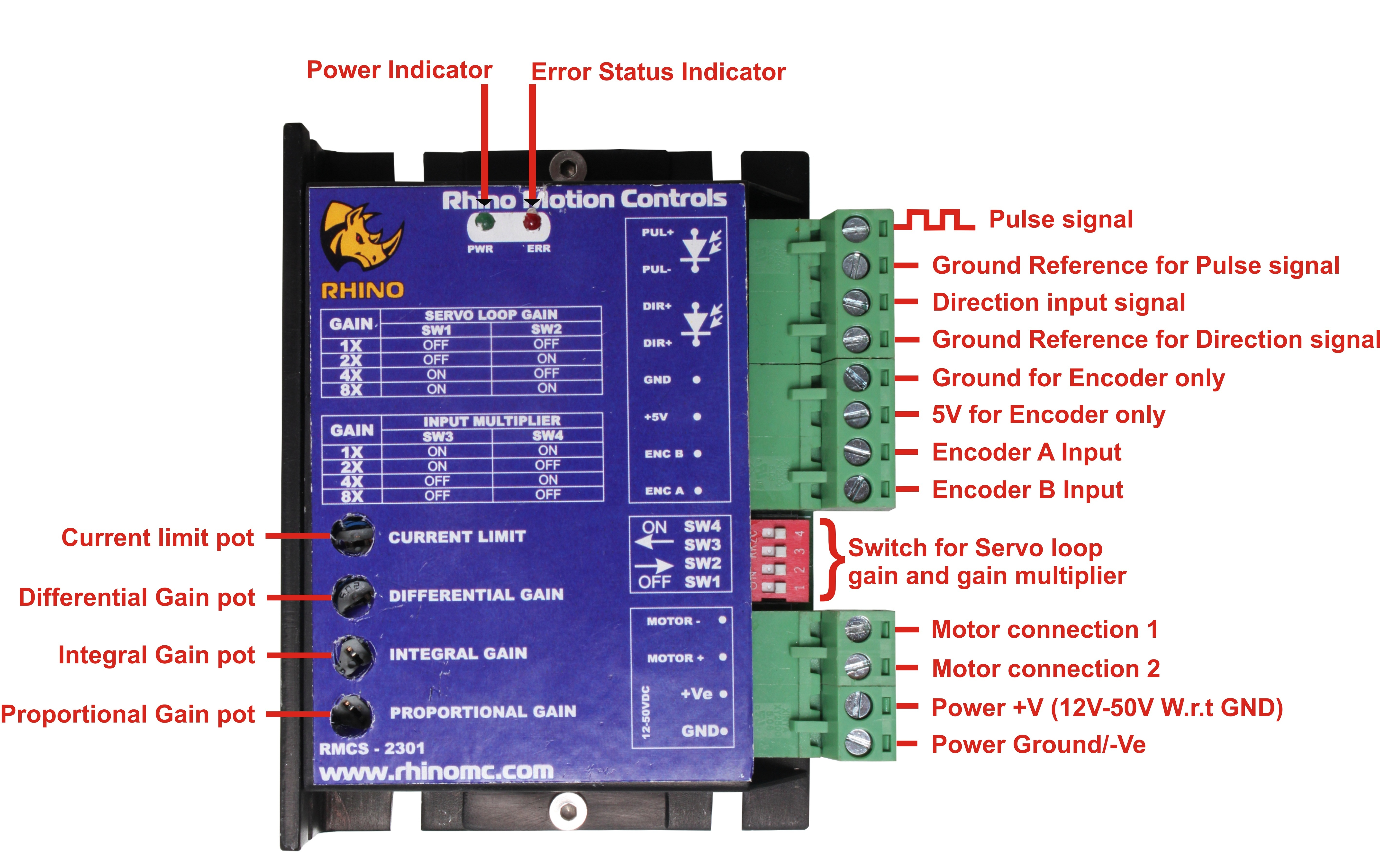 Dc Servo Motor Driver With Step Direction Input Rmcs 2301 Wireless Control Potentiometer
