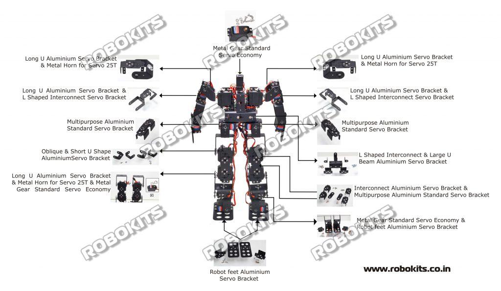 17DOF Humanoid Robot DIY Kit with 18 Servo Controller