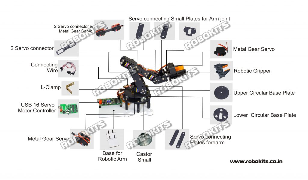robotic arm 5 dof diy kit with usb servo controller and software  rki-1557
