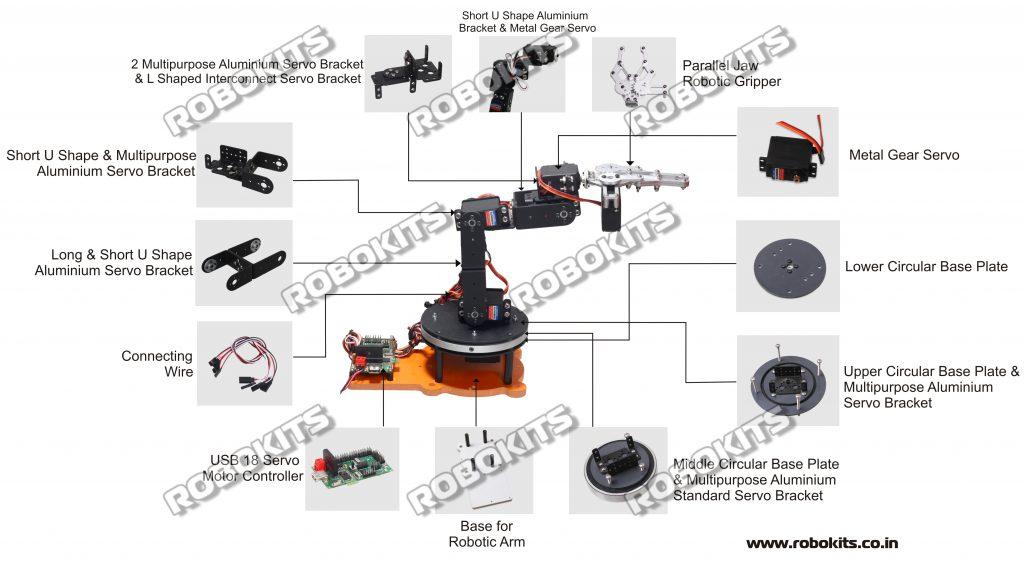 Robotic Arm 6 DOF Aluminium Clamp DIY With 18 Servo Controller
