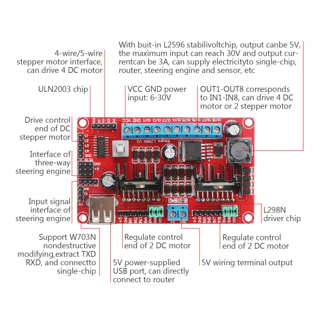 L298n V3 Four Dc Motor Driver Rki 4055 950 Robokits India Stepper Circuit Drive 1 X Module Power Supply Integrated Controller