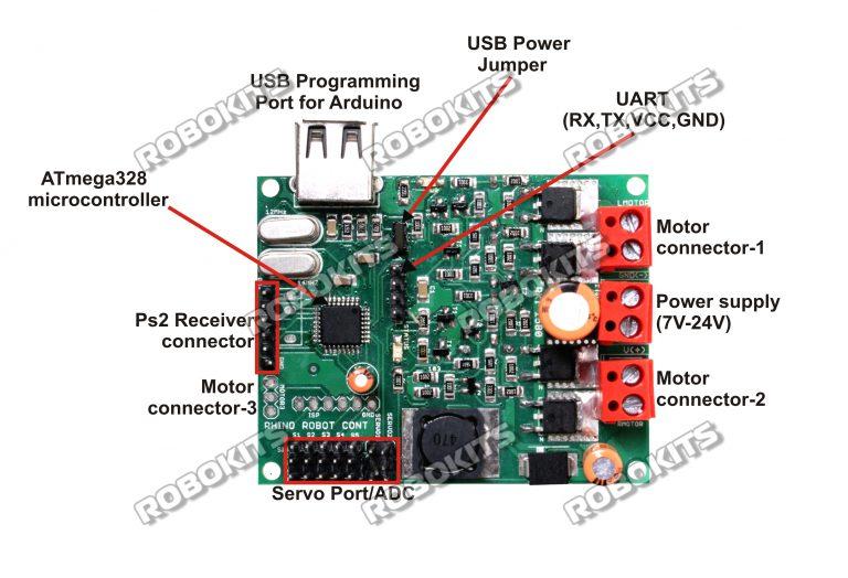 Arduino uno r based a robot control board rki